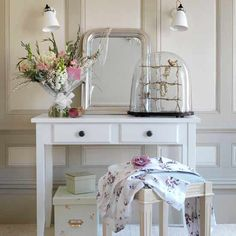 White dressing table and jewellery bell jar