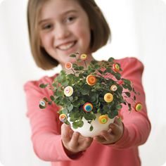 button flowers! cute way to add a splash of color to plants or to make table centerpieces