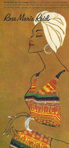 Rose Marie Reid swimwear advertisement, 1950s.