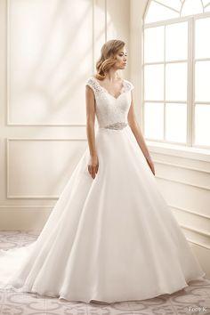 eddy k bridal 2016 cap sleeves sweetheart lace bodice a line wedding dress (ek1064) mv romantic classic