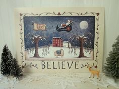 Whimsical BELIEVE Folk Art Santa and Sheep Print by folkartbydonna, $17.00