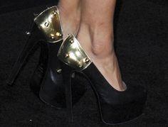Kat Graham wearing bolt-embellished heels by Ruthie Davis