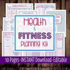 Salud y Fitness planificación Kit-Fitness Planner-dieta peso pérdida Tracker-10 hojas-Chevron-INSTANT DOWNLOAD & EDITABLE
