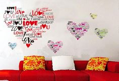 Love Hearts Children's Kid's High Quality Vinyl Wall Art Stickers X Vinyl Room, Vinyl Wall Art, Wall Decals, I Love You Languages, I Love You All, My Love, Language Quotes, Diy Wall Stickers, Love Wall
