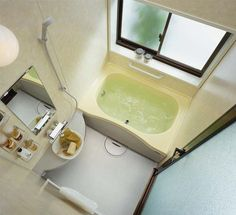 This is a bit stark, but I like the Japanese tub. I'd brighten this with color on the walls and add some art.