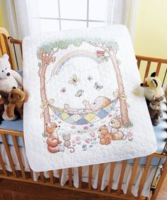 $23.85-$37.99 Baby Baby: Stamped Cross Stitch: Crib Cover. The ... : bucilla cross stitch baby quilts - Adamdwight.com