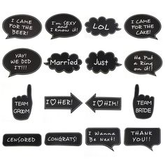 Wish   16pcs Photo Booth Props Bridesmaid Gifts For Wedding Decoration just married Photo booth MrMrs Just Married Photobooth Props Bridal Shower Wedding Party Decoration bride party wedding decoration Photobooth