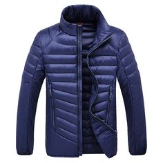 Sale 28% (60.74$) - Mens Down Cotton Stand Collar Jacket Solid Color Light Thin Business Casual Winter Coat