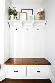 This built-in mudroom bench, shelf, and coat hooks totally transformed the space, creating an organized mudroom that is also beautiful and practical! Entryway Bench Storage, Entryway Decor, Mudroom Shelf, Foyer Bench, Entryway Furniture, Mudroom Laundry Room, Closet To Mudroom, Entry Closet, Interior Decorating
