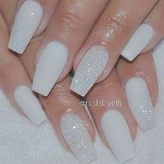 A manicure is a cosmetic elegance therapy for the finger nails and hands. A manicure could deal with just the hands, just the nails, or Prom Nails, My Nails, Long Nails, Bride Nails, Diamond Nails, Diamond Glitter, White Nails With Glitter, Matte White Nails, Nails With Diamonds