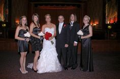 Stacie & Chris  with bridal party interior at Campus Theatre