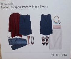 Beckett Graphic Print V-Neck Top