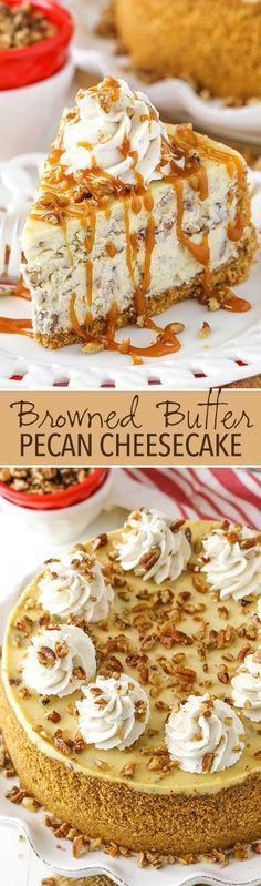 Browned Butter Pecan Cheesecake Browned Butter Pecan Cheesecake - full of flavor for fall and the holidays! Butter Pecan Cheesecake Browned Butter Pecan Cheesecake - full of flavor for fall and the holidays!Browned Butter Pecan Cheesecake - full of flavor Fall Dessert Recipes, Fall Desserts, Just Desserts, Delicious Desserts, Thanksgiving Desserts, Party Recipes, Butter Pecan Cheesecake Recipe, Easy Cheesecake Recipes, Homemade Cheesecake