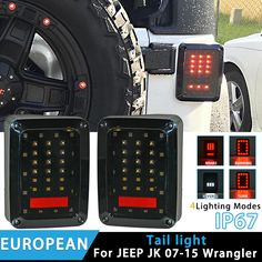 RACBOX Pair LED Reverse Brake Tail Lights With European US Standard Plugs Car Light Replacement Light For 07-15 JEEP JK WRANGLER