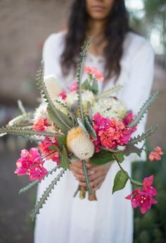 Southwestern wedding bouquet with bougainvillea and cactus