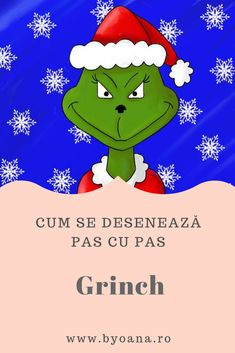 Grinch - cum se deseneaza, #desen pas cu pas #learntodraw #drawing Learn To Draw, Grinch, Drawings, Learn Drawing, Sketches, The Grinch, Draw, Learn To Paint, Drawing
