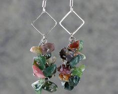 Linear long dangling pearl earrings Bridesmaids by AnniDesignsllc