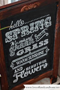 Spring Porch Chalkboard Art | Love Of Family & Home