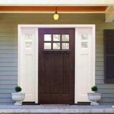 Steves & Sons Craftsman 6 Lite Stained Mahogany Wood Left-Hand Entry Door with 10 in. Sidelites and 6 in. Wall - M3306-2610-HW-6LH at The Home Depot