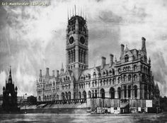 Albert Square, 1877 History Manchester, Hall Construction, Vintage Children Photos, Rochdale, Salford, Victorian Gothic, Old Pictures, Great Britain, England