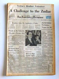 Newspaper about Zodiac killer