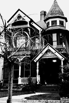 Victorian House. Gothic. Beautiful. Salt Lake City Utah. Black and white. High Contrast. Photo by Harvey Brand Imagery