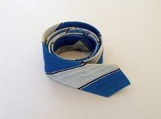 Vintage 1960's Mens Skinny Blue and Silver Striped by fourBvintage