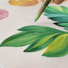Canvas Painting Tutorials, Diy Canvas Art, Diy Painting, Art Painting Flowers, Painting Leaves Acrylic, How To Paint Flowers, Pencil Colour Painting, Painting Flowers Tutorial, Flower Painting Canvas
