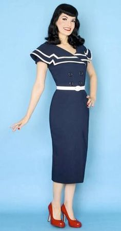 'Captain' - Retro Fifties Dress by BETTIE PAGE | atomretro.com
