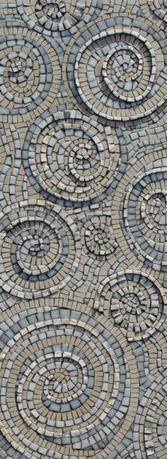 To The Heart of It // Mosaic art by Sue Kershaw // Textured swirls in sky blue with shades of ivory and marble white.