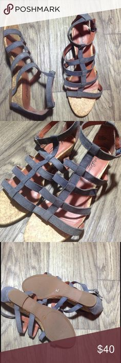 Lucky Brand Lancer gladiator sandals grey/blue sz8 Lucky Brand Lancer gladiator sandals in a greyish/blue hue. In excellent condition with only a small blemish on the upper heel part. Refer to last picture. Size 8. If you have any questions or need extra pictures Please leave a comment below. Lucky Brand Shoes Sandals