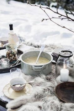 Eat quickly!  This lovely picnic will get cold fast!
