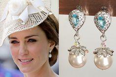 Kate Middleton Aqua Silver Pearl Drop Earrings by DBakerJewelry