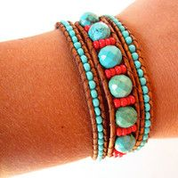 Faceted Arizona turquoise and czech glass beaded leather wrap bracelet.  Southwester 3 wrap leather bracelet.