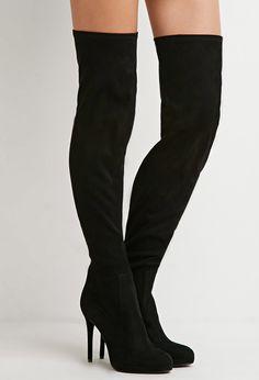 Kniehohe Stiefel in Wildlederoptik - Damen Schuhe und Stiefel | online shoppen | Forever 21 - 2000174754 - Forever 21 EU Deutsch