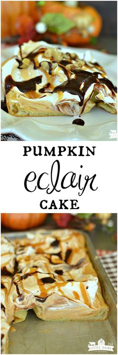 Pumpkin Eclair Cake is an impressive dessert that's much easier to make than you think! It's the perfect dessert to enjoy all fall long, especially at Thanksgiving!