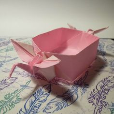January 12th 2015Origami crane box I made. Inspired by @tadashiorigami #origami #crane #tsuru #paper #folding #box #pink #cute #bird #12