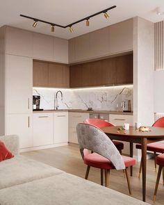 Kitchen Room Design, Home Room Design, Kitchen Layout, Home Decor Kitchen, Interior Design Kitchen, Small Apartment Interior, Small Apartment Kitchen, Contemporary Kitchen Design, Cuisines Design