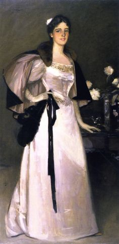 ▴ Artistic Accessories ▴ clothes, jewelry, hats in art - Sir John Lavery | Miss Mary Burrell, 1894