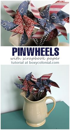 Step by step photo tutorial to make these scrapbook paper pinwheels Patriotic Crafts, July Crafts, Summer Crafts, Crafts To Do, Holiday Crafts, Holiday Fun, Crafts For Kids, Arts And Crafts, Paper Crafts