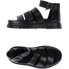 Dr. Martens Sandals ($135) ❤ liked on Polyvore featuring shoes, sandals, black, black shoes, black buckle sandals, buckle shoes, round cap and black leather shoes