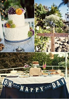 dessert table for wedding shower. like navy blue color scheme.
