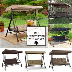 3 Person Swing With Canopy Deck Furniture, Outdoor Furniture Sets, Outdoor Decor, Porch Swing, Canopy, Patio, Home Decor, Decoration Home, Room Decor
