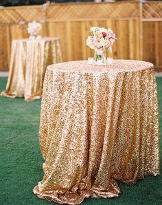gold glitter wedding tablecloth ideas / http://www.deerpearlflowers.com/glitter-wedding-ideas-and-themes/2/