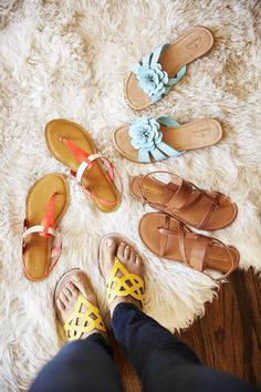 Never settle for boring sandals! Try mixing up this summer staple by donning straps, bright colors, and embellishments. These unique details will make your outfit pop and they'll go great with your favorite summer dress.