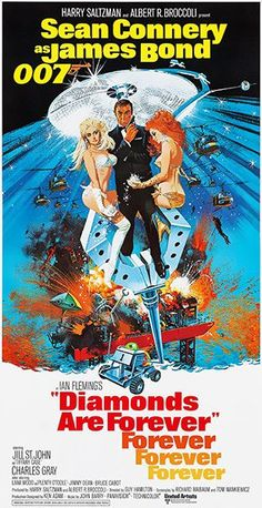 Robert E. McGinnis - Large Original Vintage Classic 007 James Bond Movie Poster Diamonds Are Forever - Robert E. Mcginnis Print – Vintage 007 James Bond Movie Poster Diamonds Are Forever 1971 - James Bond Movie Posters, Old Movie Posters, Classic Movie Posters, James Bond Movies, Cinema Posters, Original Movie Posters, Movie Poster Art, Classic Movies, Old Movies