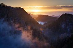 Sonnenaufgang über dem Polenztal - Dezember 2014