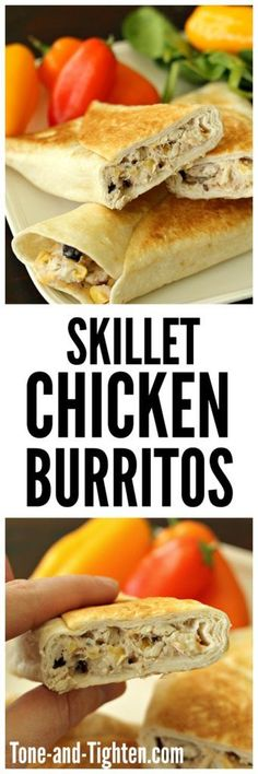 EASY Skillet Chicken Burritos on http://Tone-and-Tighten.com