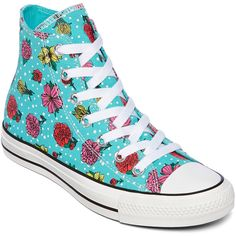 Converse Chuck Taylor All Star Womens High-Top Floral Sneakers ($32) ❤ liked on Polyvore featuring shoes, sneakers, converse, converse trainers, high top sneakers, flower sneakers, flower print sneakers and floral print sneakers