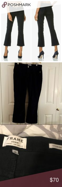 """FRAME Le Crop Mini Boot-Cut Corduroy Pants, 30 Excellent used condition. Worn only once.    FRAME Le Crop Mini Boot-Cut Corduroy Pants, Deep Blue Dive  FRAME """"Le Crop Mini"""" boot-cut pants in Deep Blue Dive corduroy. Five-pocket style. Mid rise; sits below the natural waist. Fitted through thigh; slightly flared from knee. Cropped above the ankle. Button/zip fly; belt loops. Made in USA of imported material. Frame Denim Pants Ankle & Cropped"""